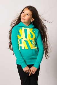 Turquoise Pullover Hoodie with Yellow Joshua logo, Joshua Perets
