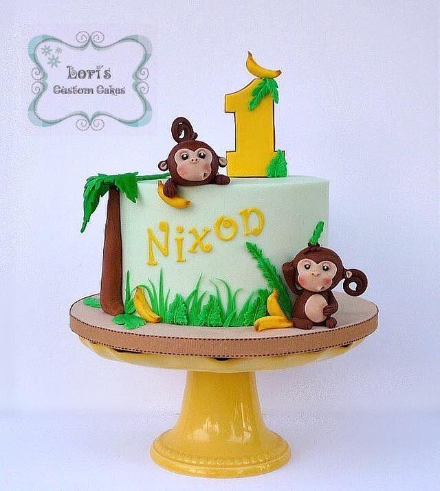 Miraculous 1St Birthday Boy Monkey Birthday Cakes Birthday Cake Kids Personalised Birthday Cards Petedlily Jamesorg