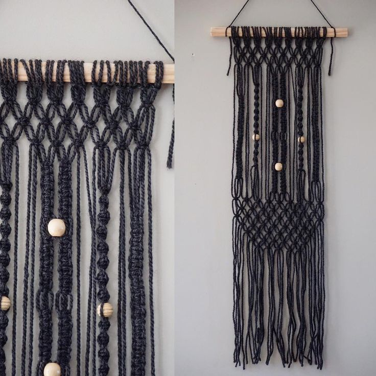 #macrame wall hanging. Made from a charcoal melange #wool and wooden doweling, and varnished wooden beads. 30cm wide and hangs from doweling 75xm long. NZ$50.00. Shipping prices all in NZ$ includes packaging. NZ$6.50, AUS $11.50 UK and USA $17.00. First person to comment SOLD is the buyer of this item. 😃