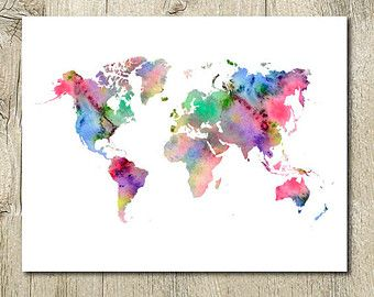 Welt Karte Wasserfarben bedruckbare Aquarell Welt Karte sofort-Download, Karte Wortkunst, Welt Karte Wandkunst, Welt-Karte-Wand-Dekor, Welt Karte jpg