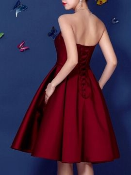 Shop Wine Red Sweetheart Bowknot Waist Lacing Back Strapless Prom Skater Dress from choies.com .Free shipping Worldwide.$67.99