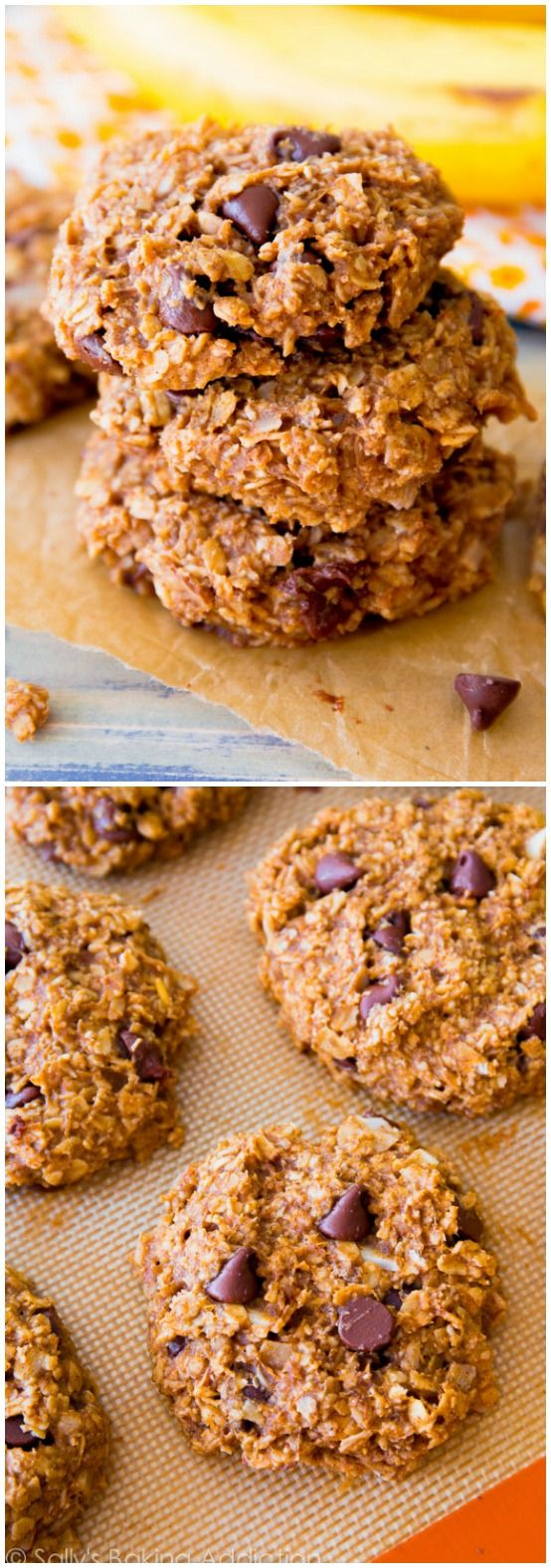 These Healthy Banana Chocolate Chip Cookies are ready in under 30 minutes and you won't even miss the added fat or sugar!