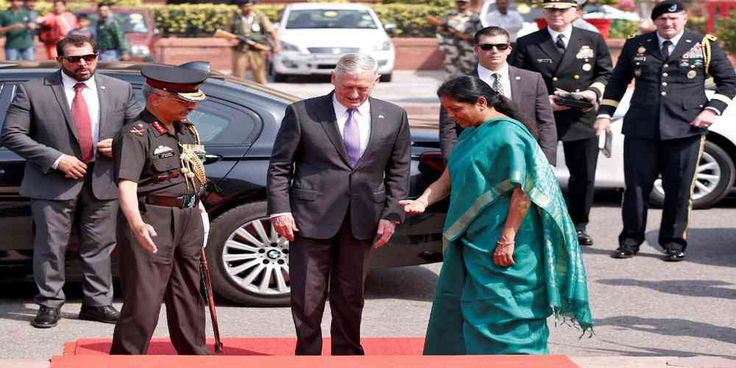 """Top News: """"INDIA POLITICS: Jim Mattis US Defense Secretary Seeks Indian Role in Afghanistan"""" - https://i1.wp.com/politicoscope.com/wp-content/uploads/2017/09/Nirmala-Sitharaman-receives-U.S.-Defense-Secretary-Jim-Mattis.jpg?fit=1000%2C500 - The two sides will also discuss Lockheed Martin's (LMT.N) offer to build F-16 fighter planes in India as part of Prime Minister Narendra Modi's drive to build a domestic military industrial base.  """"We look forward to sharing some o"""