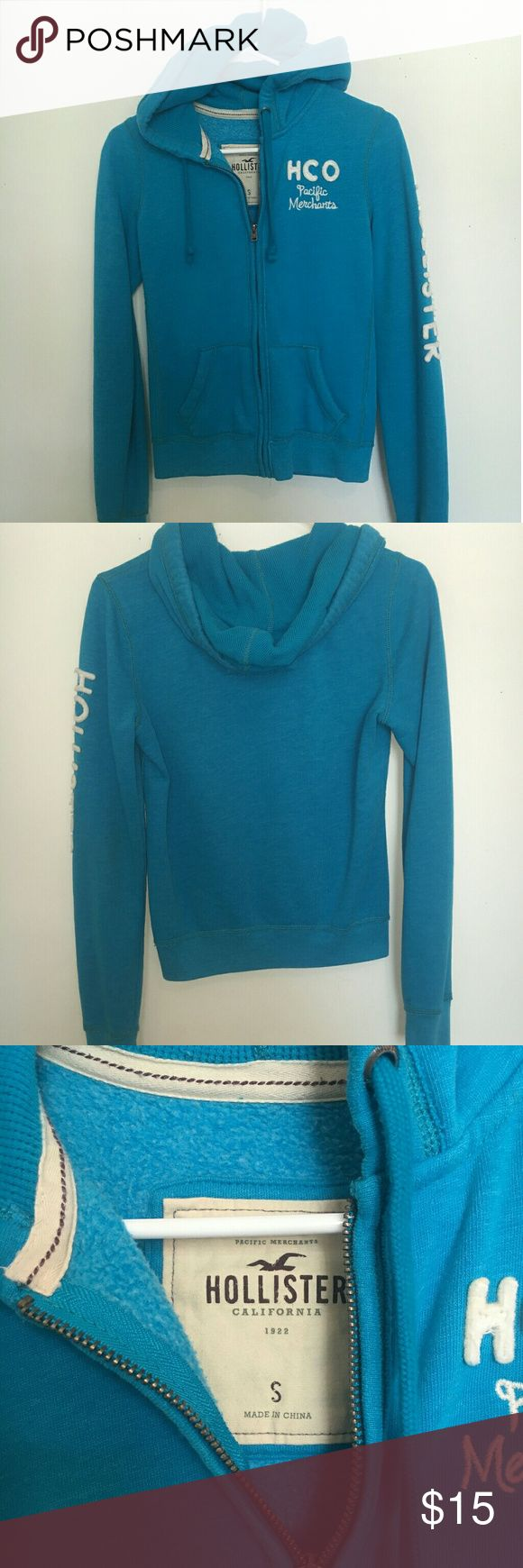 Hollister zip up Blue and white Hollister zip up hoodie Size small Hollister Tops Sweatshirts & Hoodies