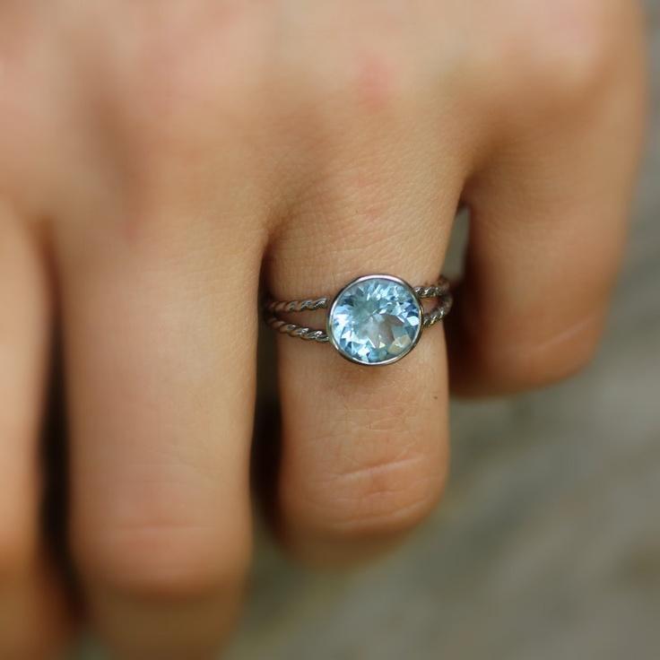 Aquamarine Split Shank 14k Palladium White Gold rapunzel Ring, Engagement Ring or Right Hand Ring. $1,248.00, via Etsy.