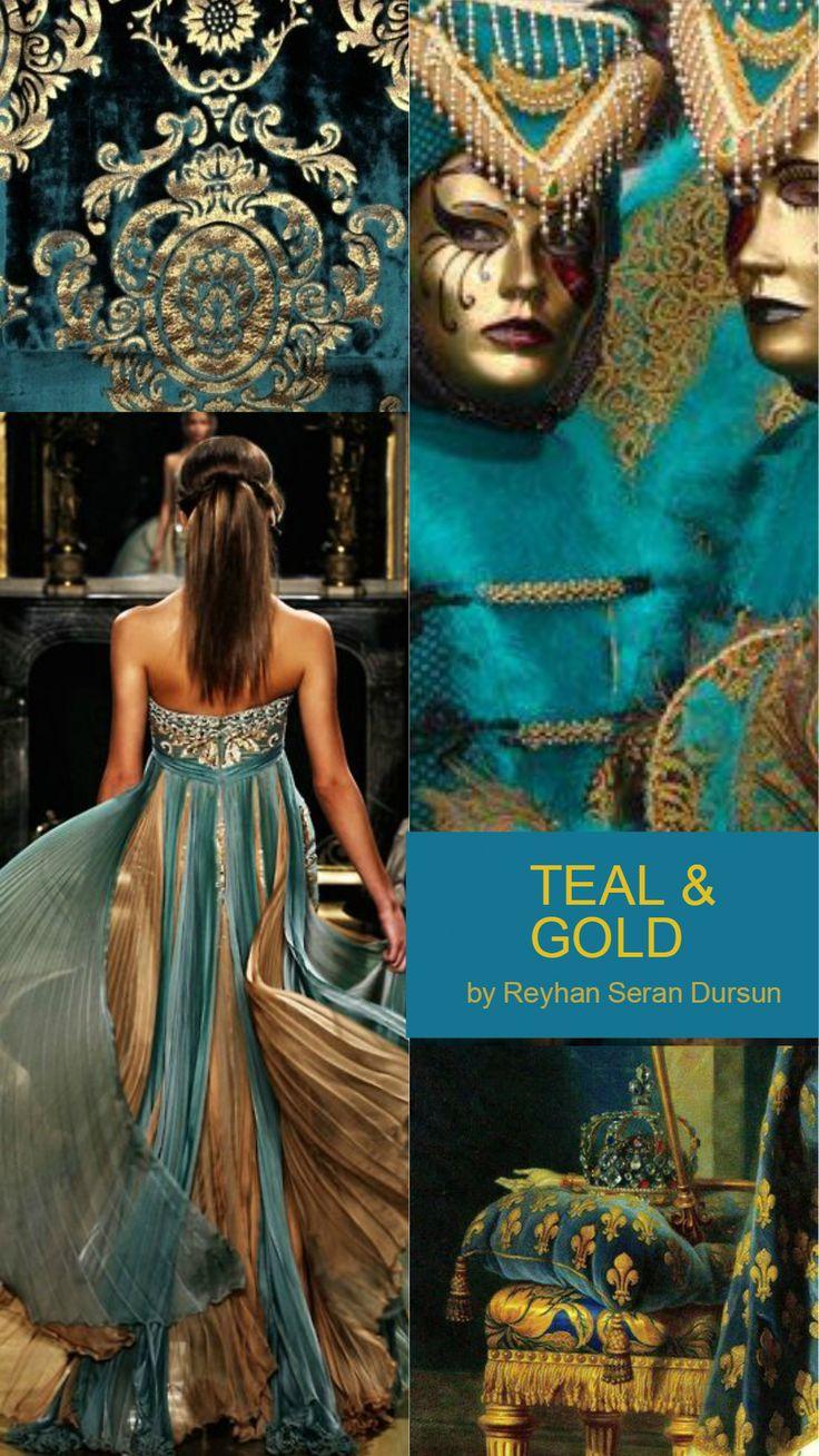 Moodboard: Blågrön och guld av Reyhan Seran Dursun.