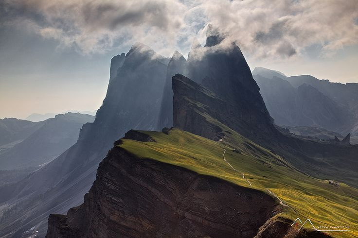 A New Day.  Dolomites - Seceda - AltoAdige (Italy).  by Matteo Zanvettor.