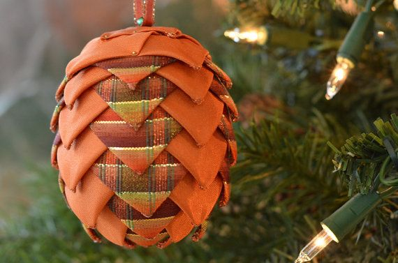 Ribbon Pinecone Decoration  Orange & Fall Plaid Ribbon Ball  Christmas Ornament or Autumn Coffee Table Bauble  Unique Handmade Gift Idea by kikiverde from Kikiverde Design Studio Find it now at http://ift.tt/1U2HOD0! #EtsyGifts #Handmade #Etsy
