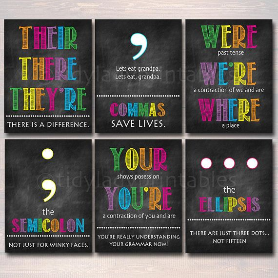 English Grammar Punctuation Poster Set, Classroom Grammar Posters, INSTANT DOWNLOAD Classroom Decor, High School English Teacher Printables