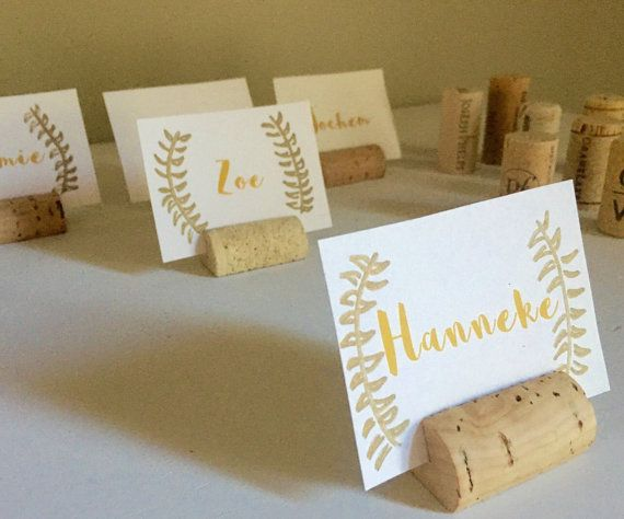 set of 25 wine cork place card holder or place setter wine cork name badge name card holder