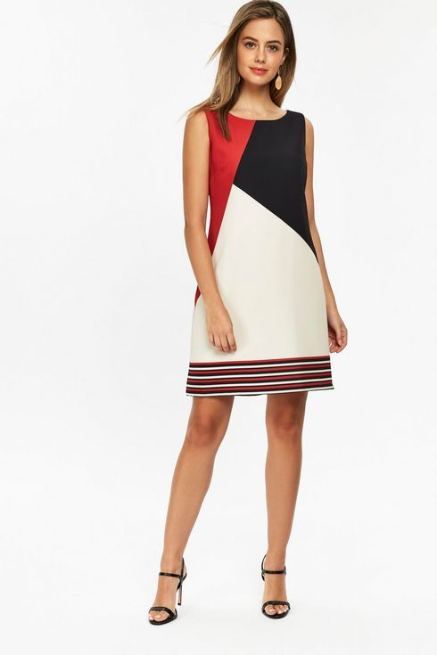 Petite Red Colour Block Shift Dress