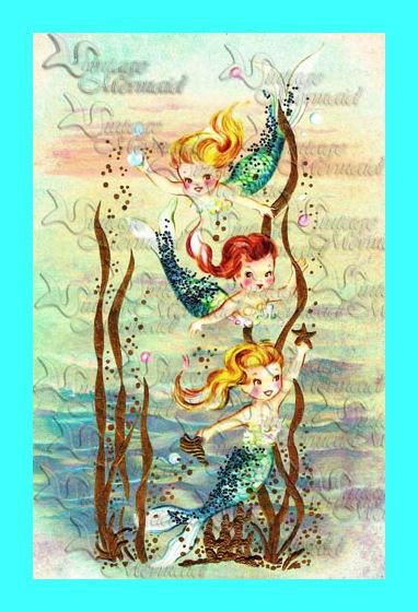 Vintage Retro Merbabies Mermaids Postcard Quilting Fabric