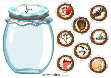 Słój z ciasteczkami z głoską [j] - pozycja głoski w wyrazie - Printoteka.pl