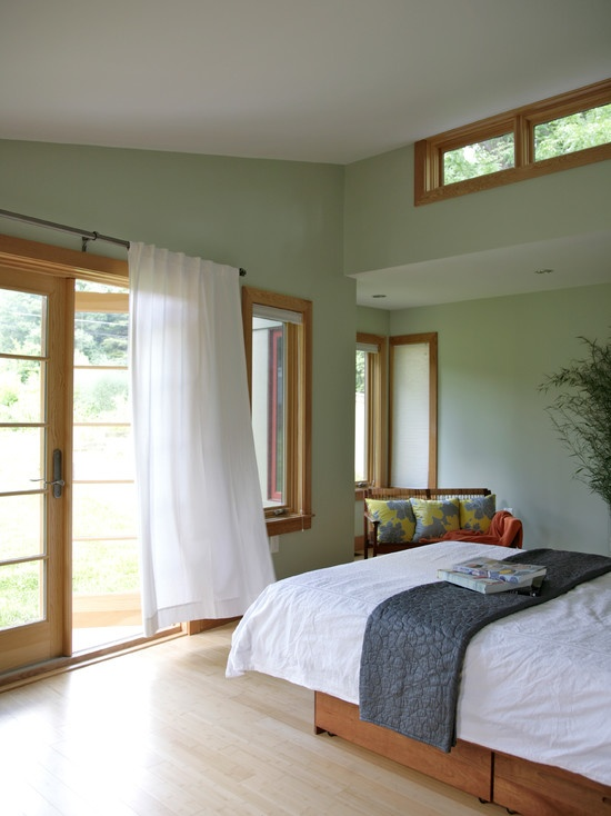 A Muted Light Green Looks Nice With Wood Tones Oak Trim Design Pictures Remodel Decor And Ideas