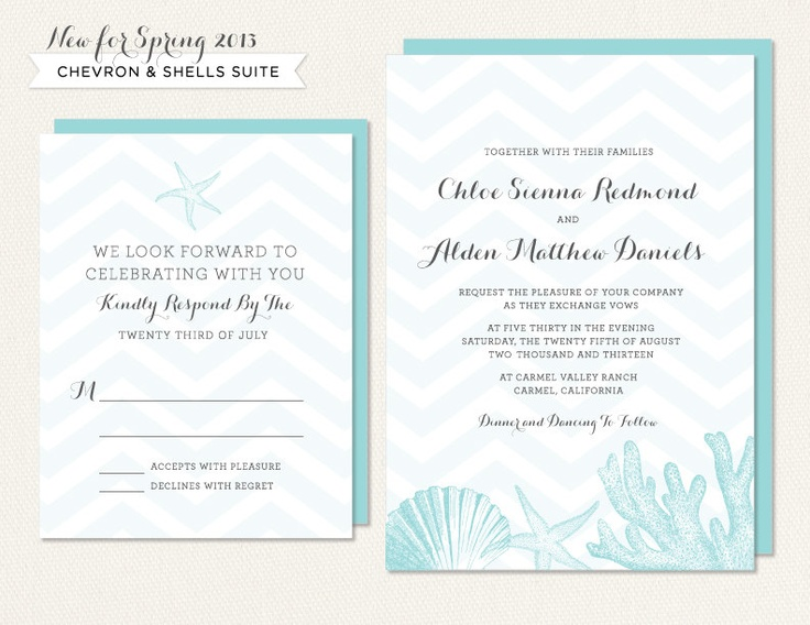 Chevron Invitation - Sea Shells - Shell Wedding Invitation - Tiffany Blue - Bridal Shower - Shell Save the Date - Beach Table Number. $4.00, via Etsy.