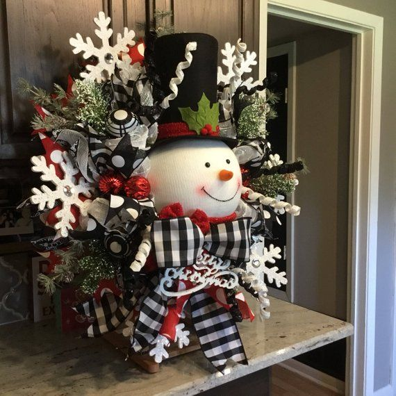 Snowman Wreath Christmas Wreath Christmas Decor Christmas Decorations Black And White Ribbon Christmas Wreaths Outdoor Christmas Decorations Indoor Christmas Decorations
