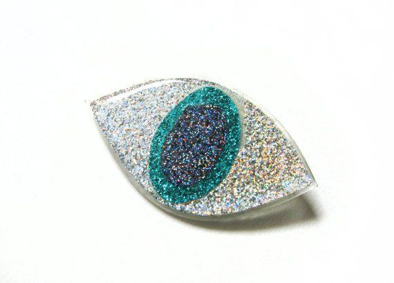 Sparkly Eye Brooch, Iridescent Evil Eye Brooch, Holographic Glitter Acrylic Lazer Cut Jewelry, Dali Inspired Jewelry, Avant Garde Brooch