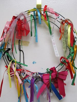 "Could be neat... Hang this wreath in the classroom and have children add a ribbon each time they are ""caught"" in an act of kindness"