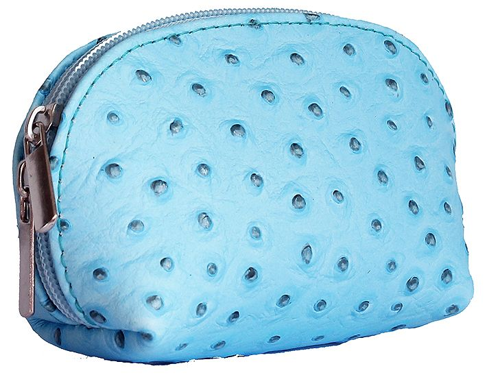 Light Blue Ostrich Leather Coin Purse