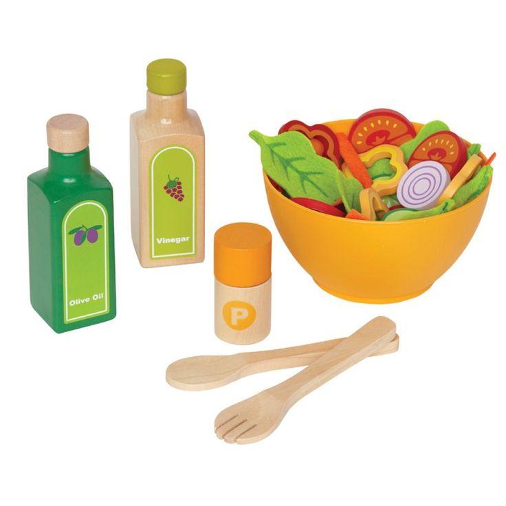 Kinderküchen Zubehör | Salat Set, aus Holz und Filz, 36 Teile, von Hape