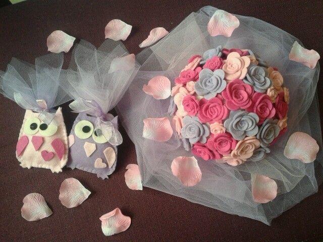 Abbinamento con centrotavola in lilla e rosa per battesime ... Cresime e comunioni