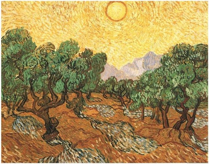 Olive Trees with Yellow Sky and Sun Vincent van Gogh   Painting, Oil on Canvas  Saint-Rémy: November, 1889 The Minneapolis Institute of Art  Minneapolis, Minnesota, United States of America, North America  F: ;710, ;JH: ;1856