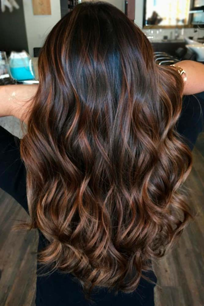 Idée Coiffure : Idée des couleurs de cheveux : Description Highlights for dark…