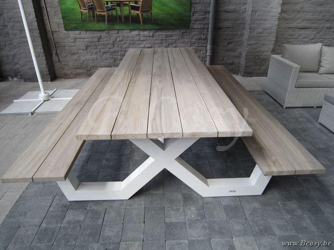 Gescova Azur Bonucci Picknick Tafel-Bank-Picknicktafel-Picknickbank Aluminium Wit blad in Recycled Teak Grey Wash 280 Table-picnic-en-aluminium-avec-plateau-en-teck-massif-Picnic-table-in-aluminium-and-teak-top-gartentisch