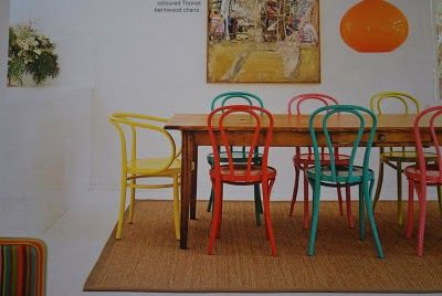 Colored Thonet Bentwood Chairs + Rustic Table