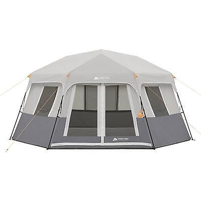 8 Person Cabin Tent Instant Hexagon Family Base Hiking Camping Rest Shelter Gray
