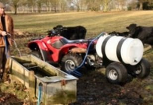 Towable drinking trailer. ATV quad bike tow-able drinking water carts and carriers to fill up water troughs around the farm for your cattle, sheep, horses, alpacas and Llamas. For more info: http://www.fresh-group.com/drinking-carts.html