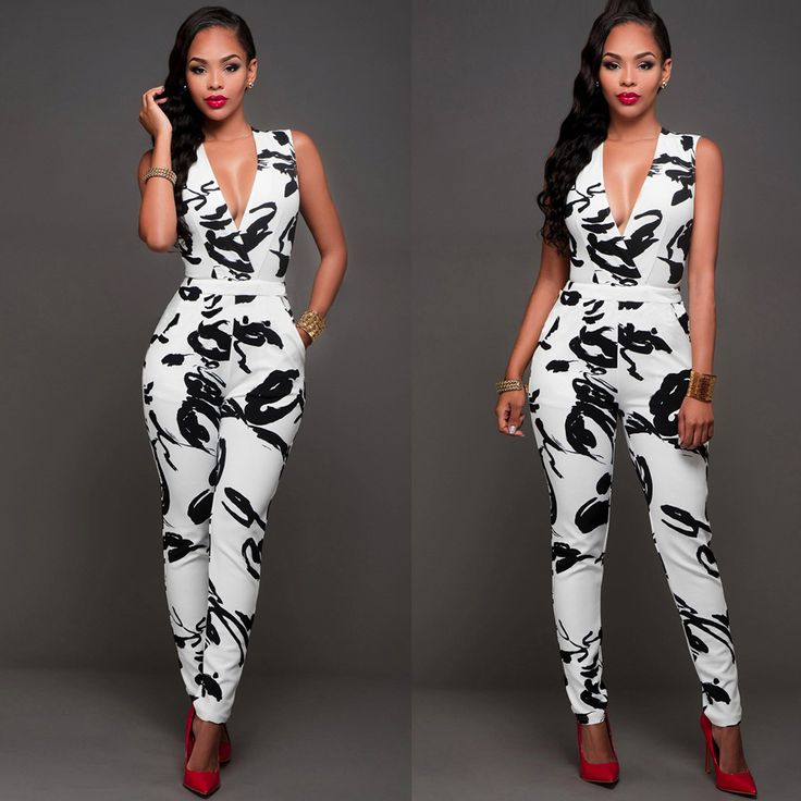 V-neck sleeveless Printing jumpsuits