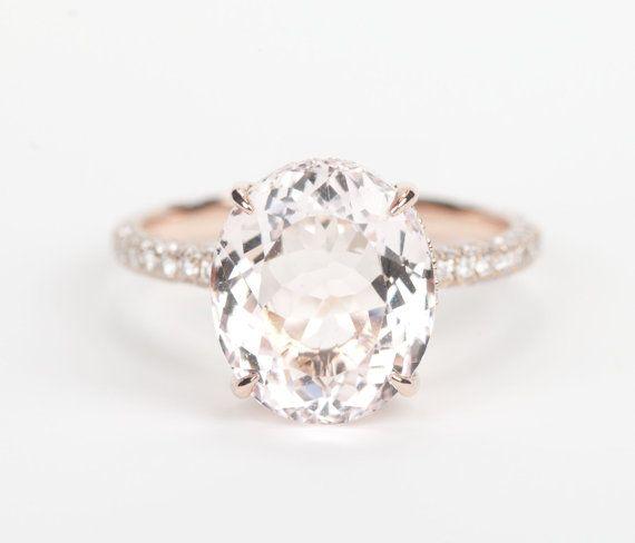 Certified Oval Peach Pink Morganite Diamond Halo by SundariGems, $2800.00