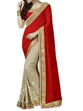 red, beige chiffon, georgette half and  saree - Online Shopping for Sarees