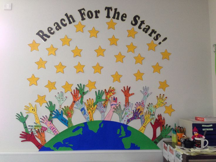 Target setting. Children wrote targets on stars and then drew around hands and decorated. This was with year 3 (age 7-8). They loved it and the display looks amazing on a very large and bare wall.