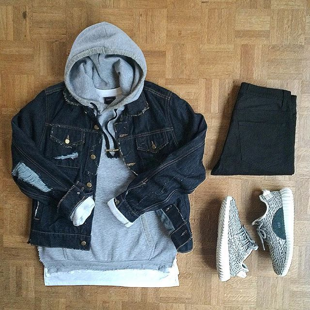 Yeezy heather grey lows | heather grey hoodie | torn indigo denim trucker jacket | black jeans