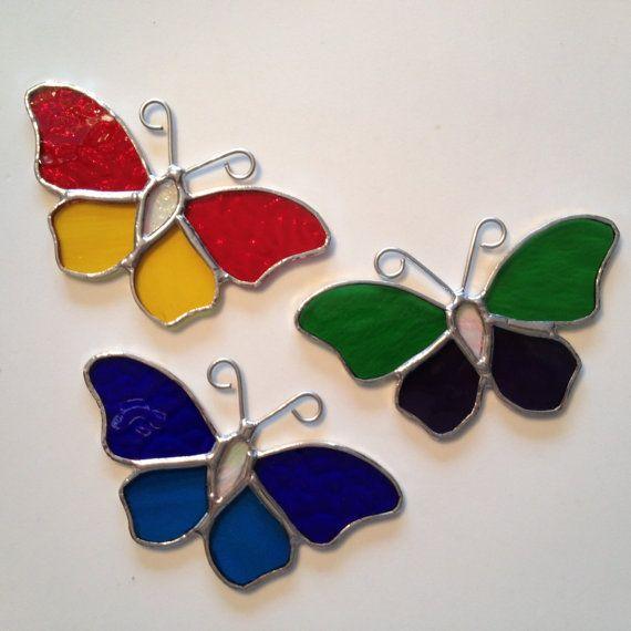 Vidrieras artesanales mariposa Suncatcher