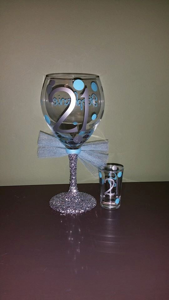 21st Birthday Personalized Glitter Stemmed Wine Glass AND Matching 21st Birthday Shot Glass SET; Celebration; Present/Gift by ByJusteenCrafts on Etsy https://www.etsy.com/listing/223475152/21st-birthday-personalized-glitter