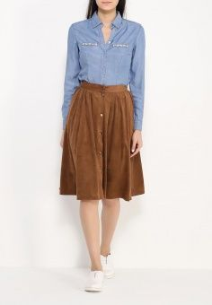 Юбка Befree, цвет: коричневый. Артикул: BE031EWHJQ33. Женская одежда / Юбки / Миди