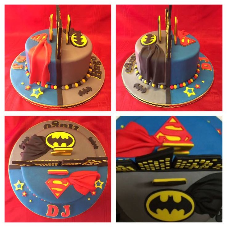 Batman and Superman double sided cake for 2 special boys. What a fun one to do. Made By Me Elena Purton