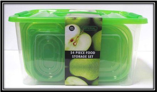54Pc Plastic Container Set Green Lid (8 Pack) by DDI. $146.90. Please refer to the title for the exact description of the item.. We proudly offer free shipping. We can only ship to the continental United States.. 100% Satisfaction Guaranteed.. All of the products showcased throughout are 100% Original Brand Names.. High quality items at low prices to our valued customers.. Can accommodate several different sized bases. Super-clarified bases for better visibility of insi...
