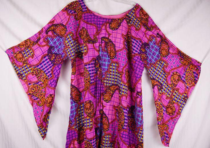 XL Vintage 60s Georgie Keyloun Pake Muu Dress Purple Paisley Caftan Hawaii
