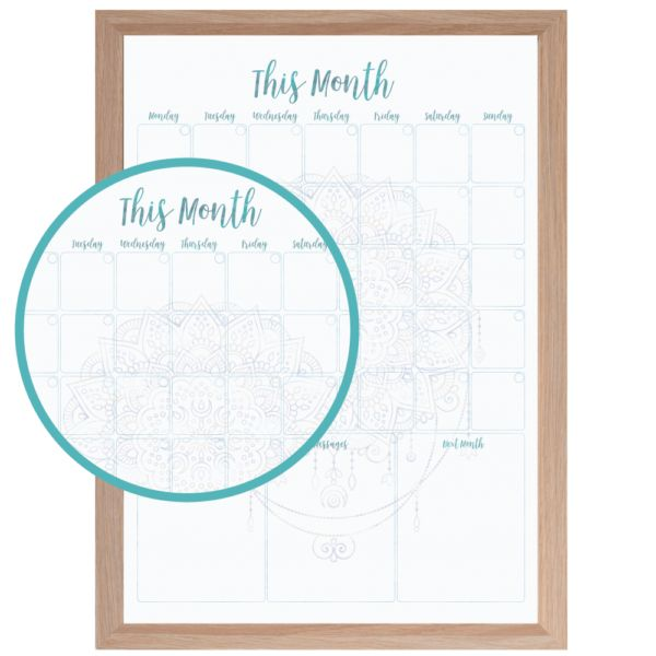 Reusable Calendar in White Mandala. www.atpcreativedesign.com