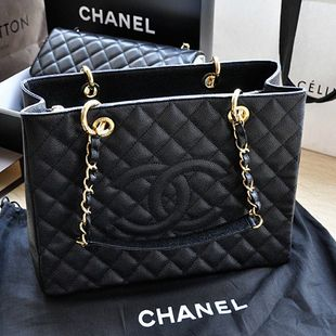 Chanel black caviar leather gold hardware GST