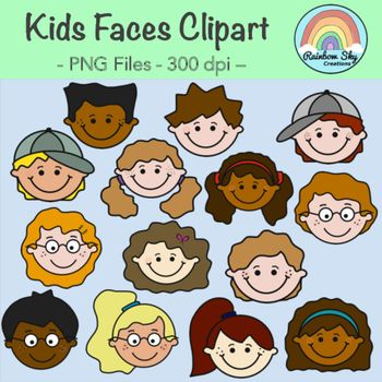 Kids Faces Clipart - For personal or commercial Use. 14 Kids faces graphics included in the download. - smiling boys x7 - smiling girls x7  All of the 14 black line originals as shown in the cover page are included.  All graphics are PNG files at 300 dpi for clear, crisp printing with transparent backgrounds. ~ Rainbow Sky Creations ~