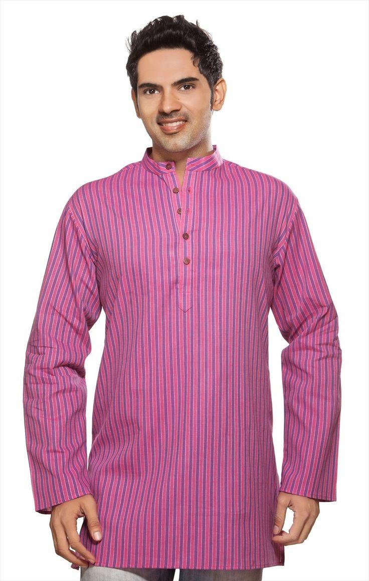 In-Sattva - Akkriti Men's Kurta Tunic Banded Collar Multi-stripe Shirt
