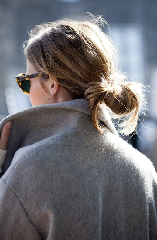 LE FASHION BLOG LOW BUNS AND OVERSIZED SUNGLASSES FASH N CHIPS LIGHT GRAY WOOL CAOT LOW MESSY BUN HAIR TORT SUNGLASSES BLOGGER STREET STYLE ...