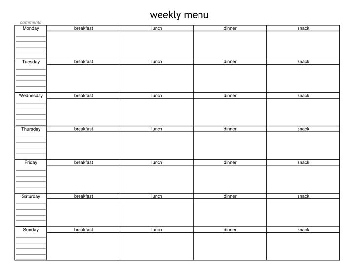blank weekly menu planner template menu planning in 2018