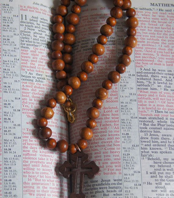 Cross Crucifix Necklace with Wooden Bayong by JewelleryInspired4U
