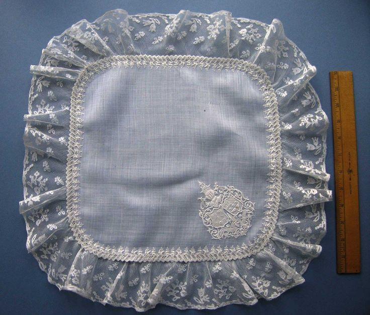 Valenciennes lace on whitework hankie